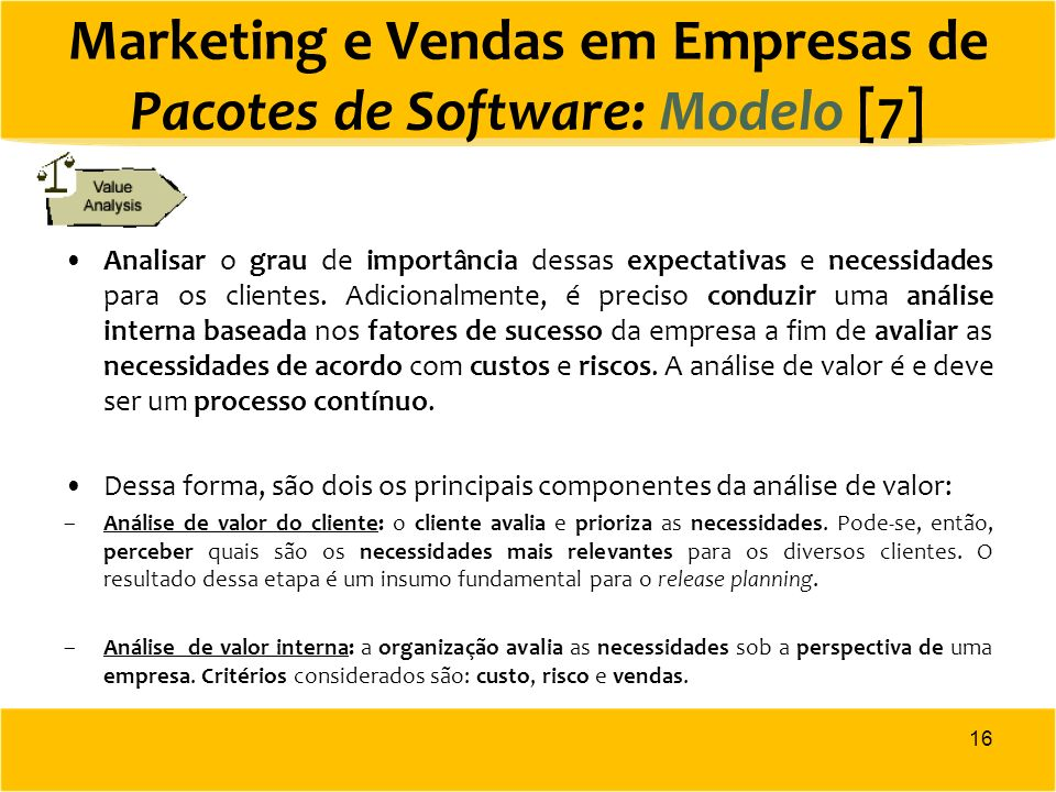 Marketing e Vendas em Empresas de Pacotes de Software: Modelo [7]